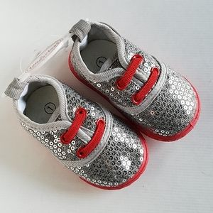 NEW baby newborn tennis shows silver Sequins